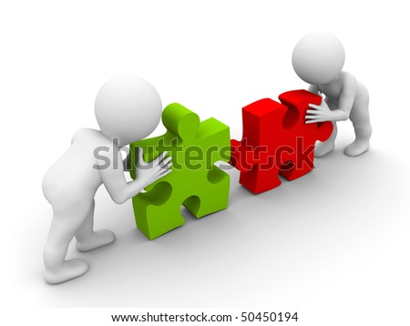 two character pushing pieces of puzzle - stock photo