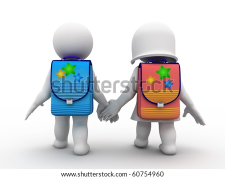 two characters going school - stock photo