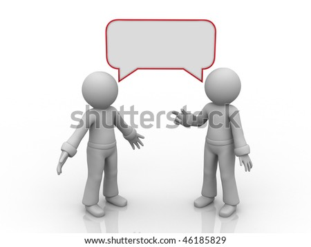 two characters with empty chatter bubbles