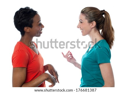 Two charming friends discussing something