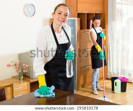 Two cheerful smiling women in aprons cleaning together in the room - stock photo