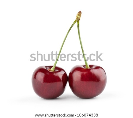 Two cherries on white background - stock photo