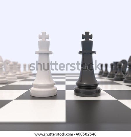 Two chess pieces on a chessboard. Black and white king facing each other.Competition, discussion, agreement and confrontation concept. 3D illustration.