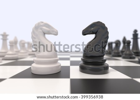 Two chess pieces on a chessboard. Black and white knight chess pieces facing each other. Competition, discussion, agreement or opposition and confrontation concept. Black and white 3D illustration. - stock photo