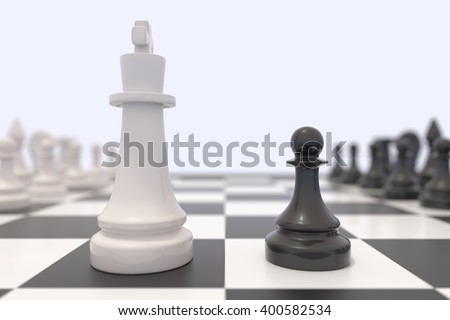 Two chess pieces on a chessboard. White king and black pawn facing each other. Standing up to a bigger opponent, competition, discussion, agreement and confrontation concept. 3D illustration. - stock photo