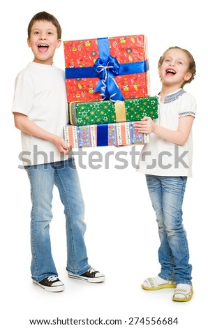 two child with gift boxes on white - stock photo
