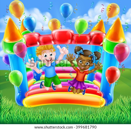 Two children, a boy and girl, having fun jumping on a bouncy castle with balloons and streamers - stock photo