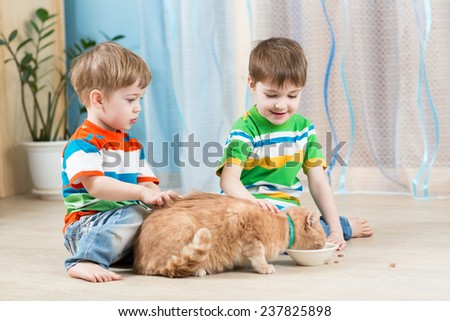 two children boys feeding red cat indoors