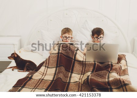Two children, boys in parents' bed at morning with laptop and tablet. Brothers play computer games. Siblings and gadgets. Boys and pet, chiwawa or chihuahua dog. Children in glasses, poor eyesight. - stock photo
