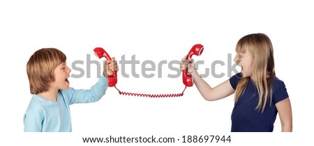 Two children fighting over phone isolated on white background - stock photo