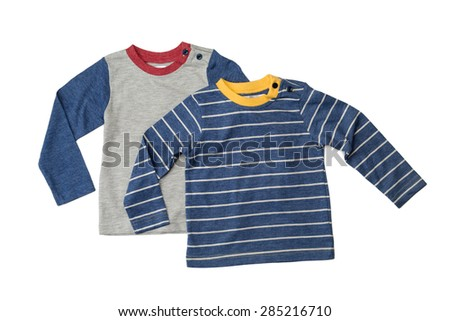Two children's T-shirts with long sleeves. Isolate on white. - stock photo
