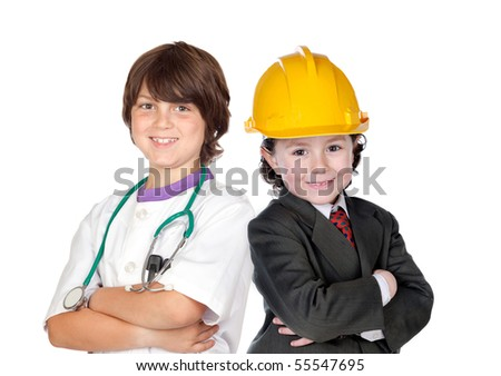 Two children with clothes of workers isolated on white background - stock photo