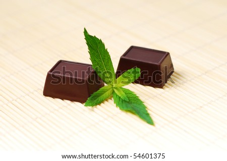 Two chocolate candies, and mint - stock photo