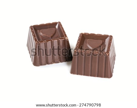 Two chocolate candies isolated on white background - stock photo