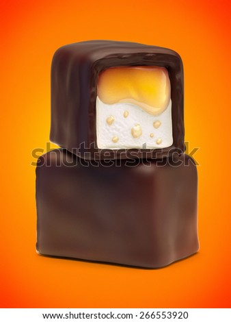 Two chocolate candies with orange jam filling, nougat and nuts crumb. On orange background.