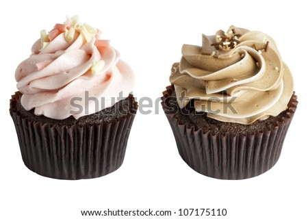 Two Chocolate Cupcakes, one cupcake with strawberry icing, white chocolate shavings, and pink shavings, and the other cupcake with chocolate icing with sprinkles - stock photo