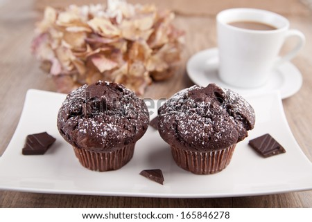 Two chocolate muffins with a cup of coffee - stock photo