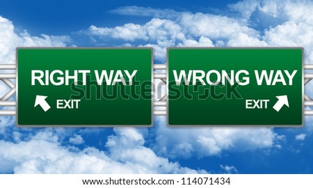 Two Choices Of Green Highway Street Sign Between Right Way And Wrong Way Sign For Business Concept Against A Blue Sky Background - stock photo