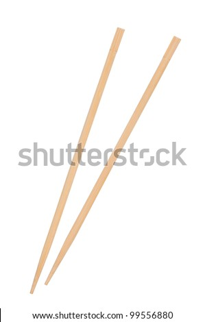 Two chopsticks isolated on white background. - stock photo
