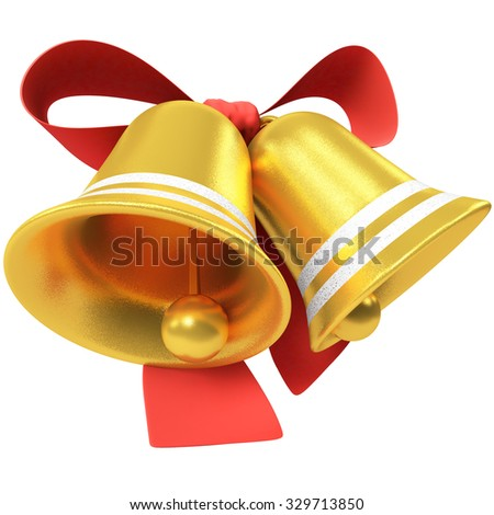 Two Christmas bells with red bow isolated on white background. - stock photo