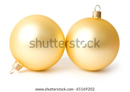 Two Christmas ornaments on a white background