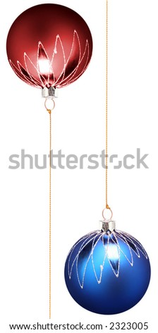 Two christmas spheres of dark blue and red color with a pattern on a white background - stock photo