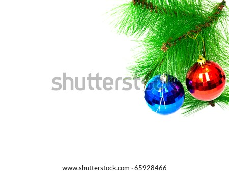 two christmas toys on white background