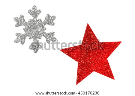 Two Christmas tree stars isolated on white background - stock photo