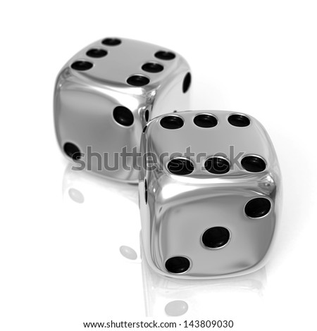 Two chrome casino cubes 3d rendered isolated on the white surface with focus effect - stock photo