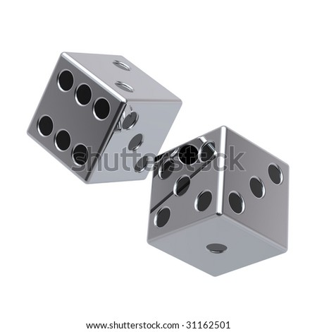 Two chrome dices isolated on white. Computer generated 3D photo rendering.