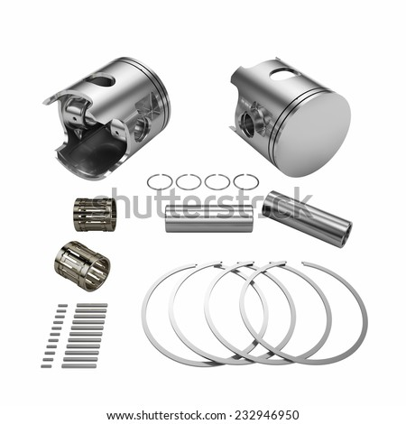 Two chrome disassembled polished pistons with connection rods isolated on white - stock photo