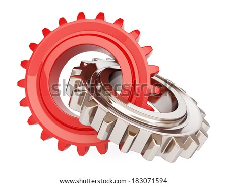 Two chrome gears on white background - stock photo