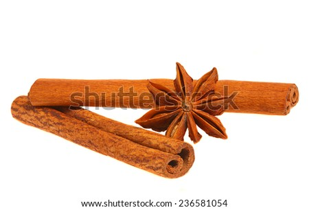 Two cinnamon sticks isolated on white background. Close up. - stock photo