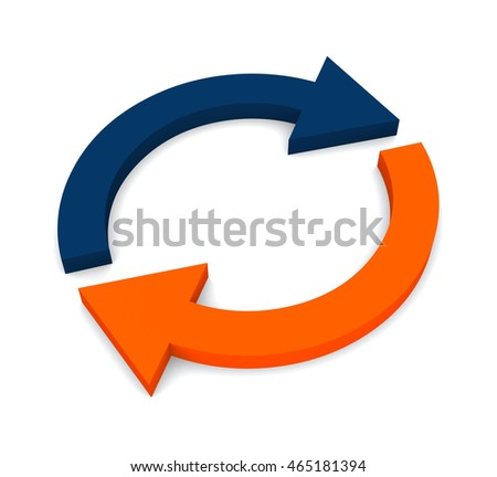 Two circular arrows isolated on white background. 3d render