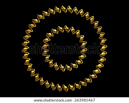 two circular frame in gold