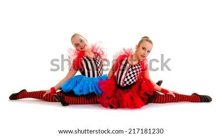 Two Circus Acrobat Dance Children sit in Splits - stock photo