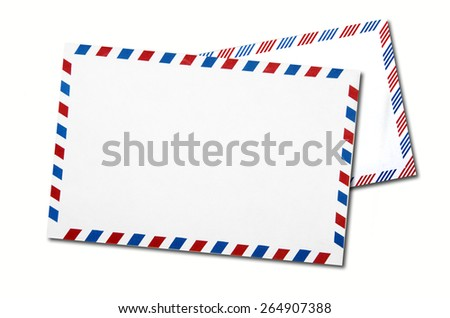 two classic air mail envelope isolated on white background