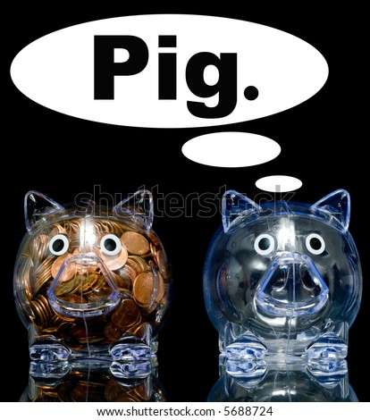 "Two clear acryllic piggy banks one stuffed full of american pennies the other empty, Illustration of the ""haves"" and the ""have nots""."