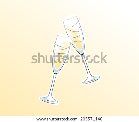 two clinking champagne glasses on bright background - stock photo