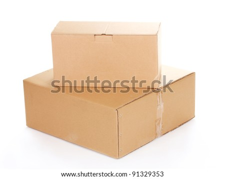 two closed cardboard boxes isolated on white