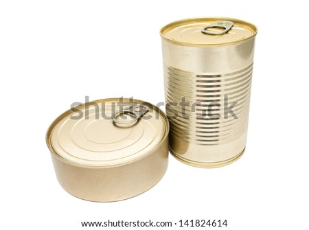 Two closed metallic tin isolated on white background