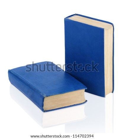 Two closed old blue books isolated on white background - stock photo