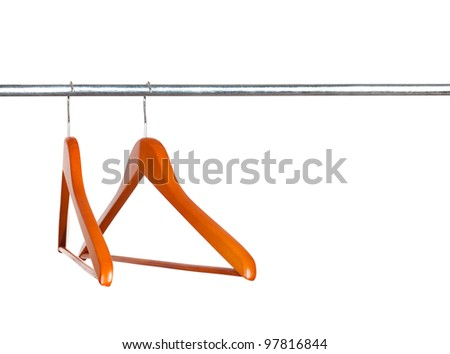 two coat hangers on a clothes rail
