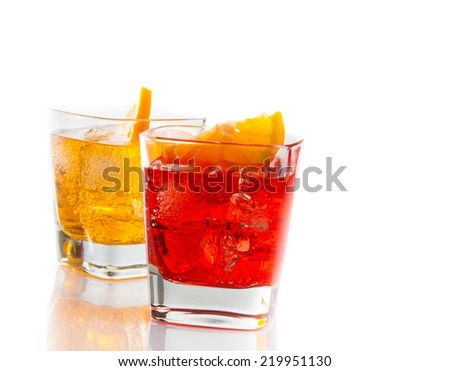 two cocktail with orange slice isolated on white background with space for text