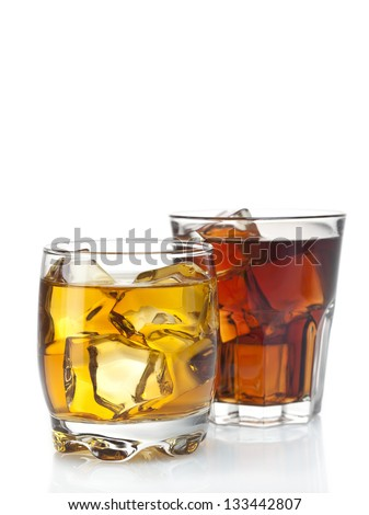 two cocktails on a white background