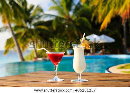 Two cocktails on luxury tropical beach