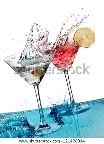 TWo cocktails splash - stock photo