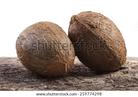 Two Coconuts on White Background - stock photo
