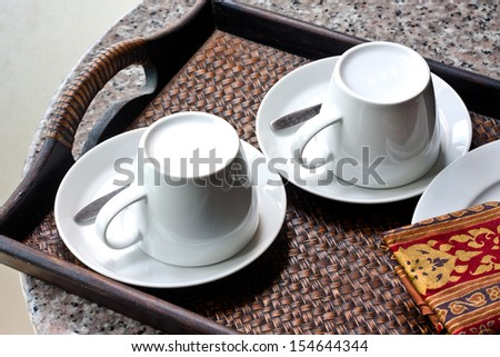 Two Coffee Cup in Woven Tray - stock photo