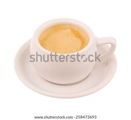 Two coffee cups (espresso). Top view, isolated on white
